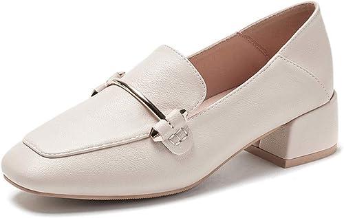 SPONSOKT SPONSOKT Mocassins Printemps épais avec chaussures simples Femme British Wind petites chaussures en cuir tête carrée avec sauvage Beige Word Education   39 UE  remise