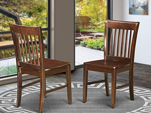 East West Furniture Norfolk Modern Dining Chairs - Wooden Seat and Mahogany Hardwood Frame Dining...