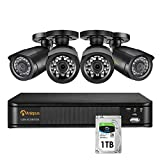 Anlapus H.265+ Système de Sécurité, Full HD 1080P 8CH DVR Enregistreur avec Caméra de Surveillance Extérieure 2MP, Disque dur de 1 To, Alerte par email & APP Gratuite Accès à distance
