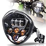 MOVOTOR 7inch Motorcycle Headlight with Bracket Clamp Red Background White DRL Hi/Low Beam for Universal...