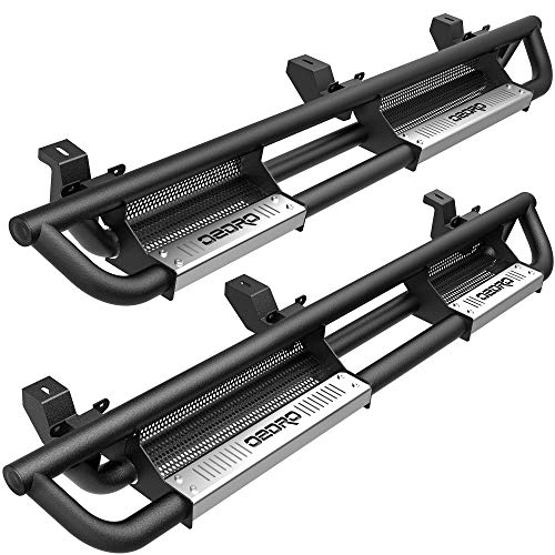 oEdRo Running Boards, Drop Side Steps Compatible with 2007-2018 Jeep Wrangler JK Unlimited 4 Door, Steel Nerf Bar with Silver Paintable Step Plates