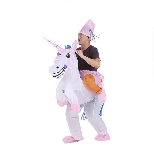 Anself - Disfraces Inflable De Unicornio Traje De Cosplay Fiesta,Para Adulto 1.6m-