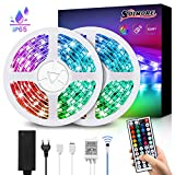 LED Streifen 10M, SOLMORE RGB Led Lichtband IP65 Wasserdicht 300LEDs SMD5050 LED Strip mit 44-Tasten...