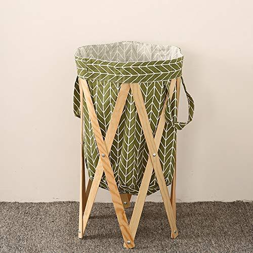 Panier à linge pliable, support en bois, panier de rangement pliable, panier à linge pliable avec poignées pour chambre à coucher, salle de bain (H)