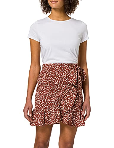 Only ONLOLIVIA Wrap Skirt WVN Noos Falda, Henna/AOP: Dos Tonos de Flores, S para Mujer
