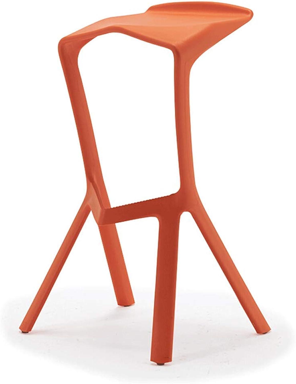Chair-Modern Minimalist Fashion Creative Bar Chair High Stool Plastic Leisure Chair (color   orange)