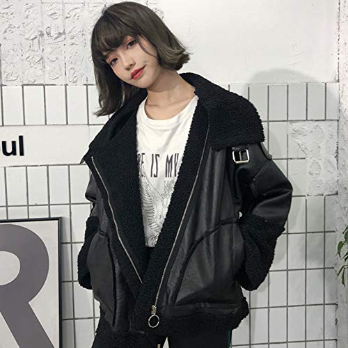 SHANGYI jacks losse patchwork PU jas zwart dikke winter warm windjack lente vrouwelijk jack