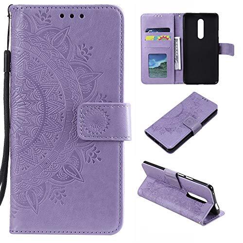 CoverKingz Handyhülle für Nokia 2.4 - Handytasche mit Kartenfach Nokia 2.4 Cover - Handy Hülle klappbar Motiv Mandala Lila