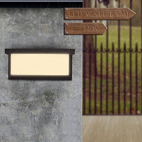 Konesky Lampada a LED da Parete Esterni Interni, LED Luce a Muro 15W IP65 Impermeabile Balcone del Corridoio d\'angolo Giardino Portico Bagno Portico Garage (Double Side (Bianco Caldo))
