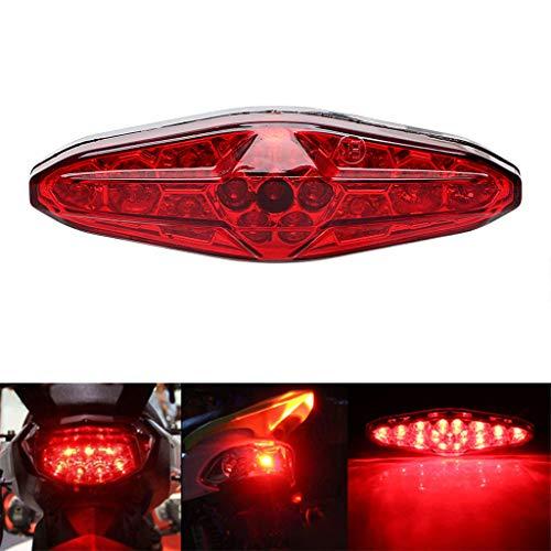 qiuxiaoaa Rot 15 LED Motorrad ATV Rücklicht Fahrradbremsstopp Rückleuchte 12V Universalzubehör Motorrad Rücklicht Rot + Schwarz