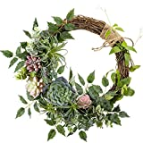 WANNA-CUL 16 inch Spring Succulent Wreath Arrangement for Front Door,Artificial Multicolor Succulent Summer Door Wreath with Air Pineapple for Wall and Home Decoration