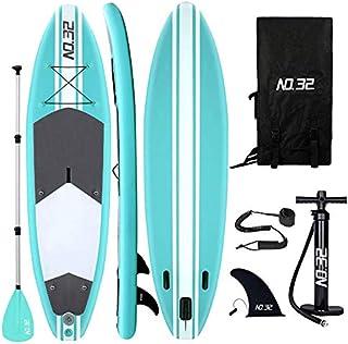 Tabla Hinchable de Paddle Surf + SUP Paddle Remo de Ajustable | Bomba | Mochila | Aleta Central Desprendible | Kit de Reparación | Asiento de Kayak y Surf Leash(300*83*15cm Grosor, Carga Hasta: 350kg)