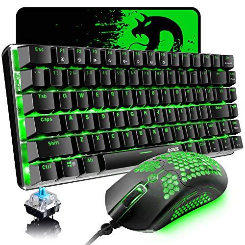 Kabelgebundene Gaming-Tastatur, Maus, 3-in-1-Set, grüne Hintergrundbeleuchtung, blauer Schalter, 82-Tasten mechanische Tastatur, 12000 dpi, 65 G, leichte Gaming-Maus mit 26 RGB-Hintergrundbeleuchtung