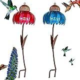 Creative Sensation Pink/Blue Coneflower Bird Feeder Garden Decoration,Standing Bird Feeder,Anti-Squirrel Bird Feeder,Outside Rust Resistant Garden Art Metal Birdfeeder with Stand (Blue+Pink)
