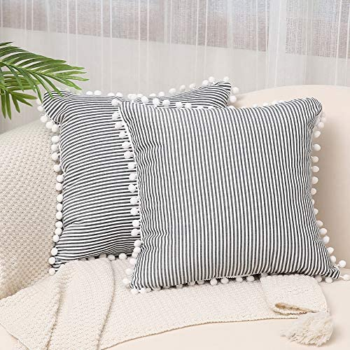 Kiuree Farmhouse Ticking Stripe Pillow Covers with Pom Poms Set of 2 Black and White Outdoor product image