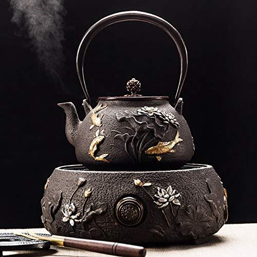 UMITEASETS - Juego de tetera de hierro fundido TTA de pez loto con cocina de inducción, set de té japonés de tetsubin