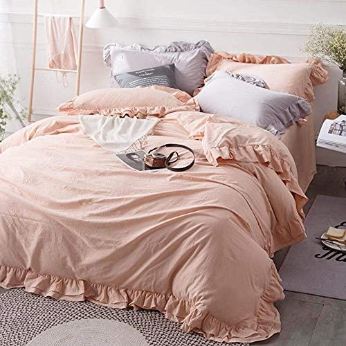 DFBGL Einfarbiger Kissenbezug 4-teiliges Bettlaken-Set Gerüschter Bettbezug Plissee Laken Twill-Spitze-Tagesdecke