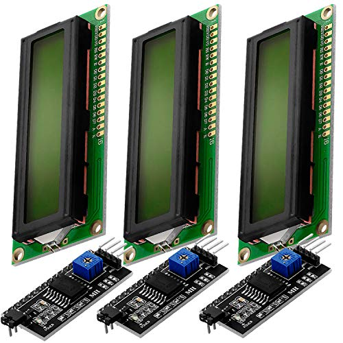 AZDelivery HD44780 1602 16x2 Serial LCD Black Character Green Backlight Display Board IIC PCF8574T I2C Adapter Converter Bundle Compatible with Arduino Raspberry Pi Including E-Book! (Pack of 3)