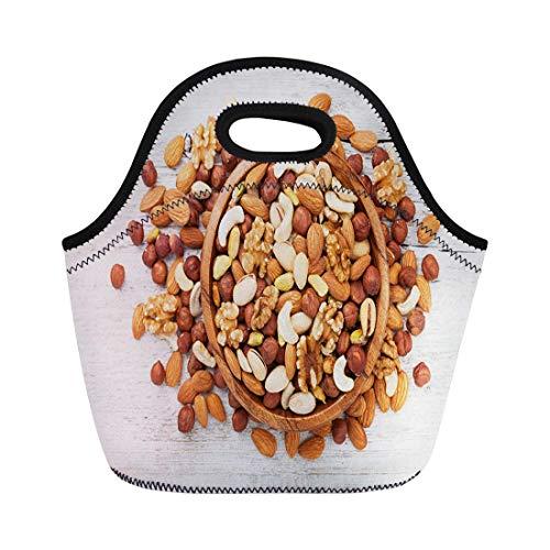 haoqianyanbaihuodian Bolsas de almuerzo Tazón de madera con nueces mixtas sobre mesa blanca, bolsa de almuerzo de neopreno, bolsa de almuerzo portátil, bolsa de picnic