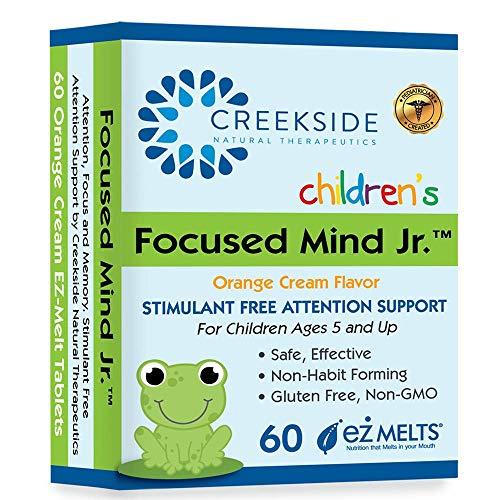 Creekside Naturals Focused Mind Jr., Focus and Memory Support for Children, Pediatrician Formulated, Stimulant Free Attention Support with Inositol, Zero Sugar, Vegan, Orange Cream Flavor, 60 EZ Melt Tablets