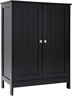 Iwell Bathroom Floor Storage Cabinet with 2 Adjustable Shelf, 6 Heights Available, Free Standing Kitchen Cupboard, Wooden Storage Cabinet with 2 Doors, Office Furniture, Black