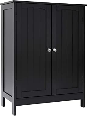 IWELL Black Bathroom Floor Storage Cabinet with 2 Shelf, 3 Heights Available, Free Standing Kitchen Cupboard, Wooden Storage