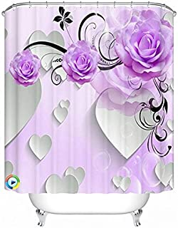 Alicemall Purple Shower Curtain 3D Flower Bathroom Shower Cutain Purple Peony White Heart 3D Bath Curtain Polyester Flower Bathroom Curtain Set, 12 Free Curtain Hooks (71
