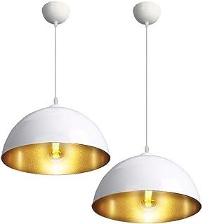 CCLIFE 2 Unidades Vintage Lámpara de techo Lámpara colgante Lámpara vintage lampara industrial Negro o Blanco Casquillo E27 para bombilla Ø300mm, Color:Blanco