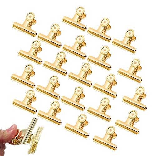 Binder Clips - YeeStone 30 Stück 22mm Büroklammern Briefklemmer Bulldog Clips für Bilder Fotos, Küche zu Hause, Büro Zubehör (Gold)