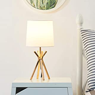 Popilion Elegant Brass Metal Base Table Lamp,Noble Table Lamp with White TC Fabric shade for Bedroom Living Room