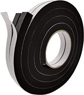 """Self Adhesive Weather Stripping Rubber Insulation Foam Seal Tape 1/2"""" Wide X 1/2"""" Thick Total 13 ft Long (6.5ft x 2 Rolls)"""