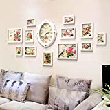 Yxsd Juego de 13 Paquetes de Pared for Fotos con combinación de Reloj, Marcos de Cuadros Collage de Fotos Kit de galería de Pared for Pared y hogar, Blanco