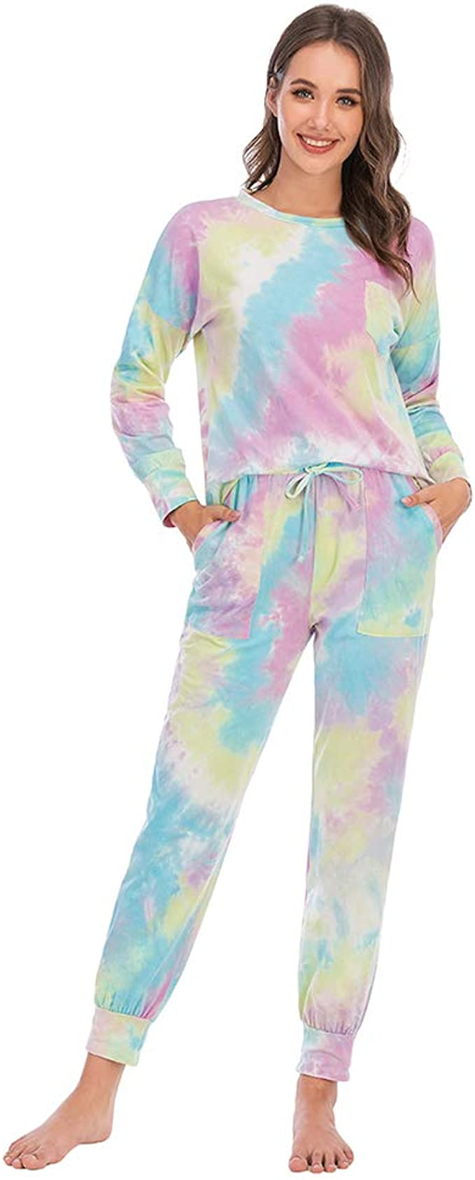 Womens Pajamas Set Long Sleeve Loungewear Tie Dye Cotton Sleepwear Soft Pj Lounge Sets Ladies Casual Elastic Waist Nightwear