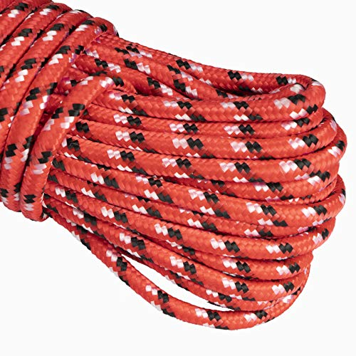 MetaKit 100 ft. Diamond Braided Polypropylene Rope 1/4 Inch High Strength Utility Rope for Clothesline Flag Pole Indoor Outdoor Use (Red)