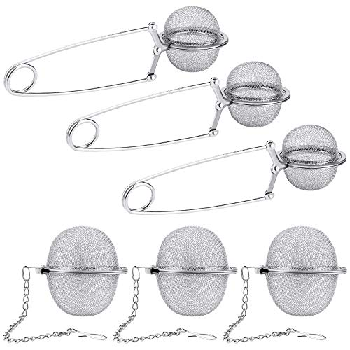 6 Pack Tea Ball Infuser Stainless Steel Mesh Tea Strainer Filters Tea Interval Diffuser with Extended Chain Hook for Brew Loose Leaf Tea and Spices amp Seasonings