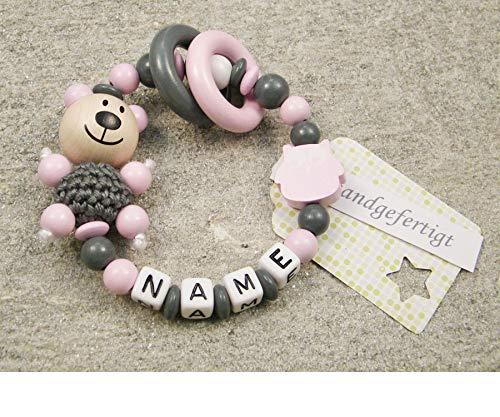Baby Greifling Beißring geschlossen mit Namen - individuelles Holz Lernspielzeug als Geschenk zur Geburt Taufe - Mädchen Motiv Bär und Eule in rosa