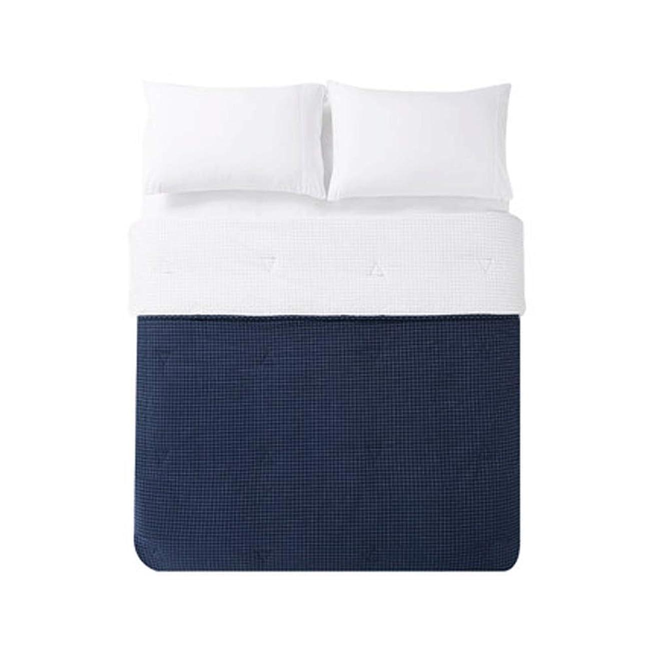 長椅子アクションささやき心を洗った綿染めのチェック柄の綿春と夏は洗える綿通気性の薄いキルトです (色 : 濃紺)