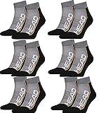 HEAD Unisex Performance Quarter Socken Sportsocken 12er Pack (grau/schwarz, 43/46)