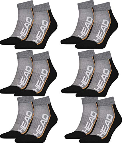 HEAD Unisex Performance Quarter Socken Sportsocken 12er Pack (grau/schwarz, 43/46)