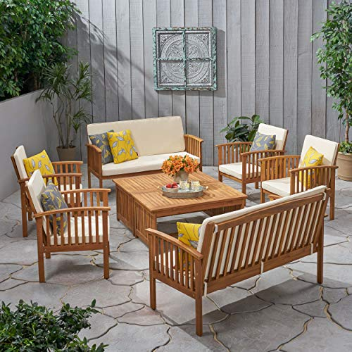 Christopher Knight Home 295746 The Carolina Beckley 8-pc Outdoor Wood Sofa Seating Set, Brown Patina