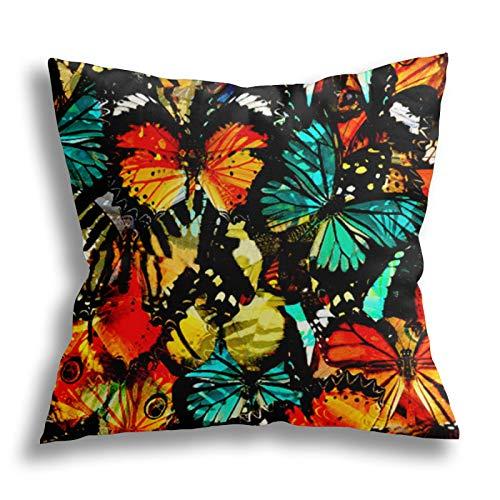 QTYVI Colorful Butterfly Upper Wing Kissenbezug Baumwolle Home Decor Kissenbezug Quadratische dekorative Kissen...