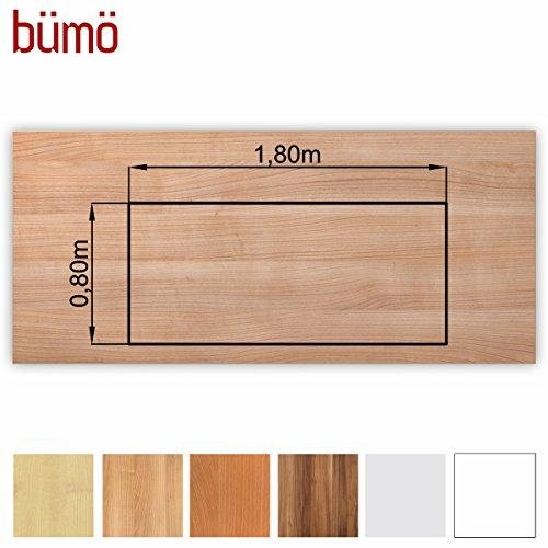 Bümö® stabile Tischplatte 2,5 cm stark - DIY Schreibtischplatte aus Holz | Bürotischplatte belastbar mit 120 kg | Spanholzplatte in vielen Formen & Dekoren| Platte für Büro, Tisch & mehr (Rechteck: 180 x 80 cm, Nussbaum)