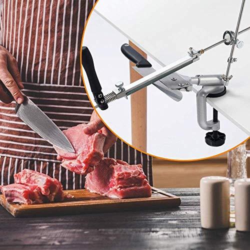Kacsoo Affilacoltelli Professionale, Affilacoltelli Manuale, Affilacoltelli da Cucina con 4 Pietre per Affilare, Affilacoltelli Portatile Utensili per Affilare la Cucina, Sicuro e Facile da Usare