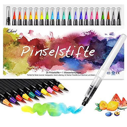 Qhui Pinselstifte Set, 20+1 Aquarellstifte, Pinselstifte Aquarell mit Wassertankpinsel, Brush Pen Manga Zeichnen Stifte, Kalligraphie Set, Lettering Handlettering Stifte Set für Bullet Journal