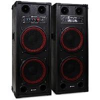 "Fenton SPB-210 Sonido profesional Pareja de Altavoces autoamplificados DJ 25cm (10"") 1200W aux USB, SD CD, MP3 Asas de transporte"