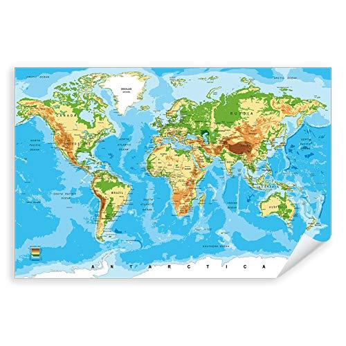 Postereck - 0848 - Detaillierte Weltkarte, Hauptstädte Länder - Unterricht Klassenzimmer Schule Wandposter Fotoposter Bilder Wandbild Wandbilder - Poster - DIN A3-29,7 cm x 42,0 cm