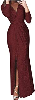 Women V-neck Sexy Party Long Dress, Ladies Solid Long Sleeve Sexy Bodycon Dress Formal Dress