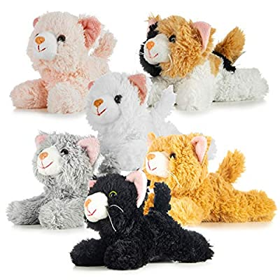 Pack of 6 Realistic Looking Plush Cats 6 Inches Long by Prextex