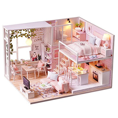 Spilay DIY Miniature Dollhouse Wooden Furniture Kit,Handmade Mini Modern Apartment Model with Dust Cover & Music Box ,1:24 Scale Creative Doll House Toys for Children Gift (Tranquil Time) l022