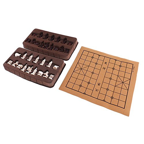 Exquisite Retro Chinese Chess Resin Terracotta Army Pieces Xiangqi Board Game...
